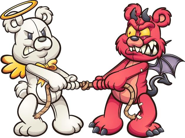 Ursinhos de pelúcia anjo e demônio em um cabo de guerra