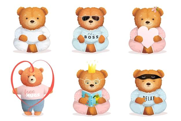 Ursinhos de pelúcia fofos e engraçados dormindo, lendo apaixonados e meditando ou sentados como um chefe