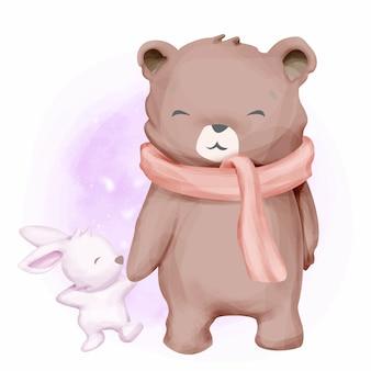 Urso adorável e coelho bebê
