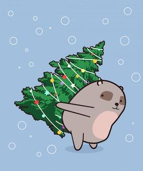 Urso adorável está levantando uma árvore de natal