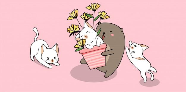 Urso adorável está segurando o gato dentro da panela com flores e amigos