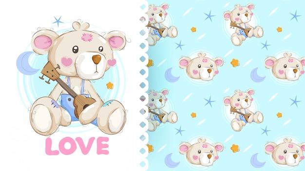 Urso adorável mão desenhada com padrão