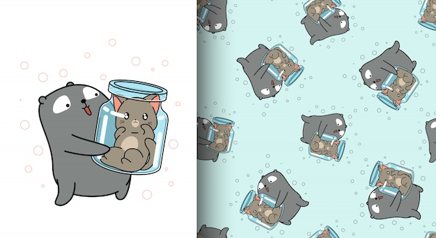 Urso adorável padrão sem emenda é levantar o gato dentro da garrafa