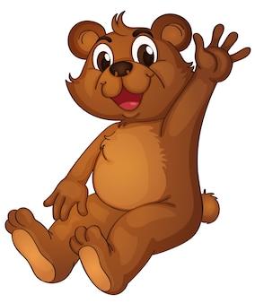 Urso animado dizendo olá com a mão