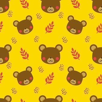 Urso animal vetor sem costura de fundo