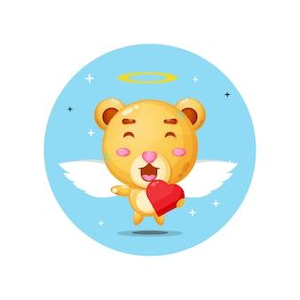 Urso anjo fofo abraçando corações de amor