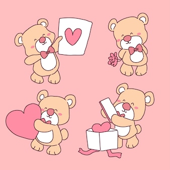 Urso apaixonado conjunto de ilustrações