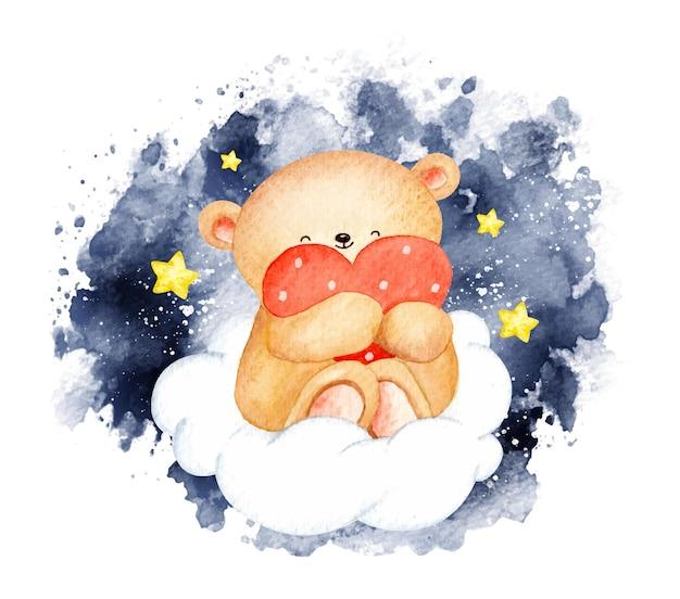 Urso aquarela com grande amor sentado na nuvem