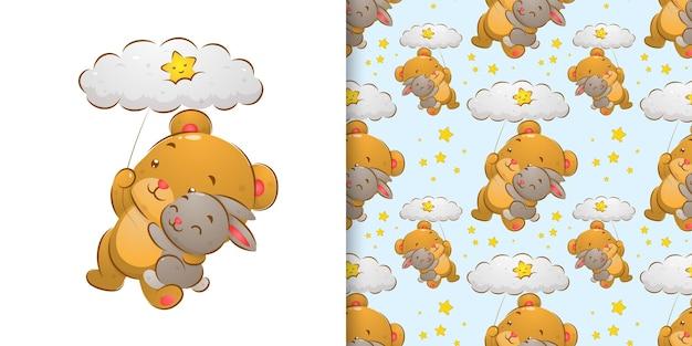 Urso aquarela segurando o coelho e voando com a ilustração do conjunto de padrões de nuvens