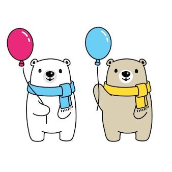 Urso, balão polar, caricatura, ilustração