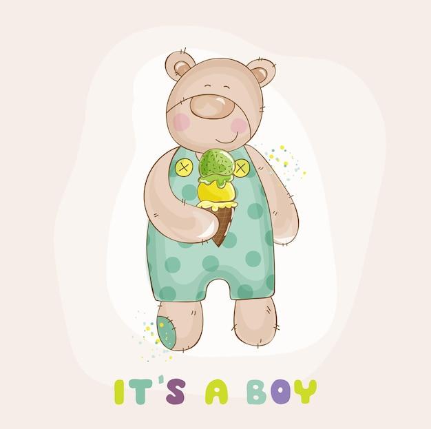 Urso bebê com chá de bebê de sorvete