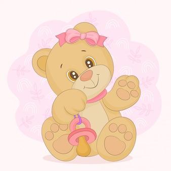 Urso bebê com chupeta na mão