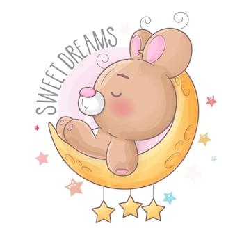 Urso bebê dormindo com estrelas