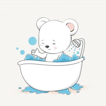 Urso bebê fofo levar uma mão de banho dos desenhos animados desenhada