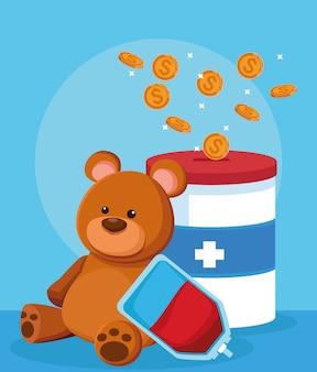 Urso, bolsa de sangue e lata de doação com moedas de dinheiro, design colorido