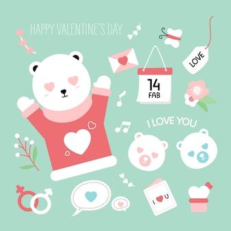 Urso bonito amor animal mão desenhada estilo