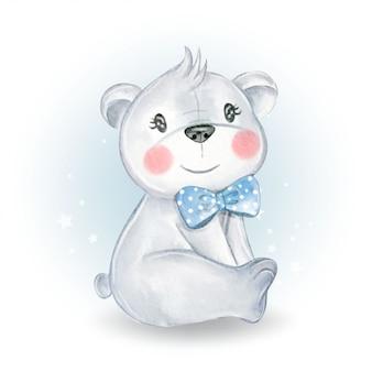 Urso bonito bebê sente-se ilustração