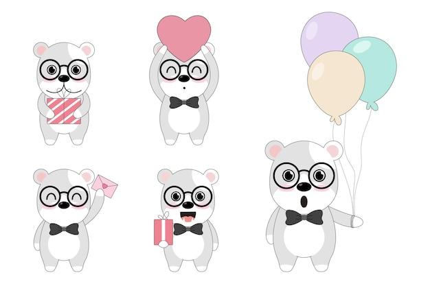 Urso bonito com caixa de presente, cartão e balões.