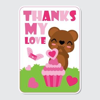 Urso bonito com cupcake rosa amor no jardim