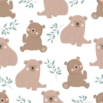 Urso bonito com folha