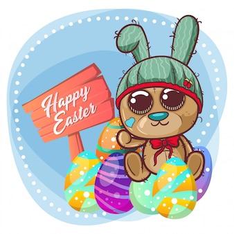 Urso bonito com ovo da páscoa feliz. vetor