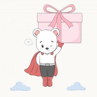 Urso bonito como super-herói