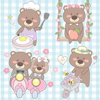 Urso bonito conjunto