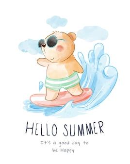 Urso bonito de desenho animado em ilustração de surf de óculos de sol