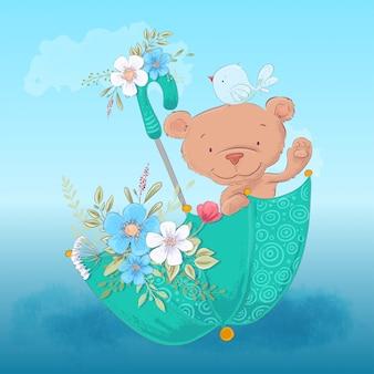 Urso bonito de ilustração infantil e um pássaro em um guarda-chuva com flores