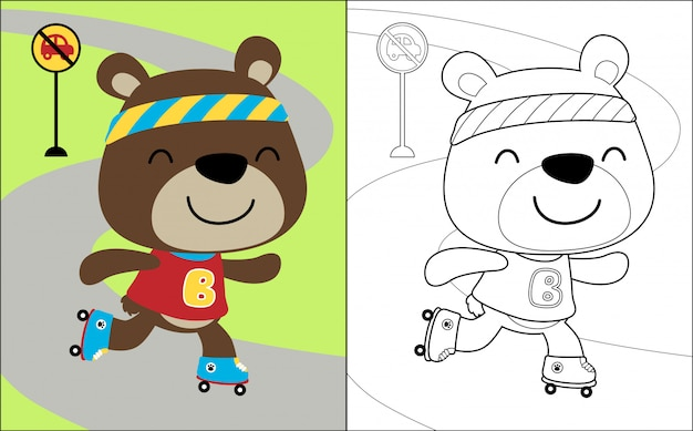 Urso bonito dos desenhos animados, brincando de patins