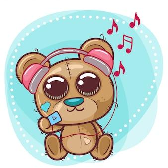 Urso bonito dos desenhos animados com fone de ouvido