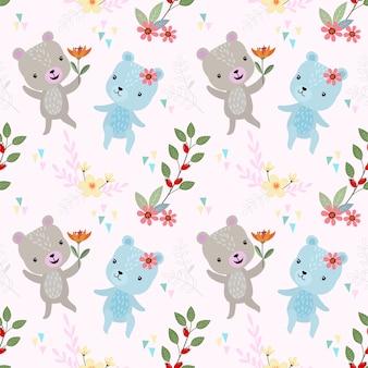 Urso bonito dos desenhos animados com padrão sem emenda de flores.