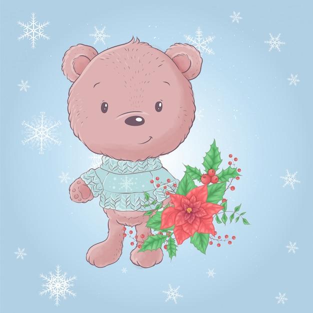 Urso bonito dos desenhos animados com um buquê de poinsétia. ilustração vetorial