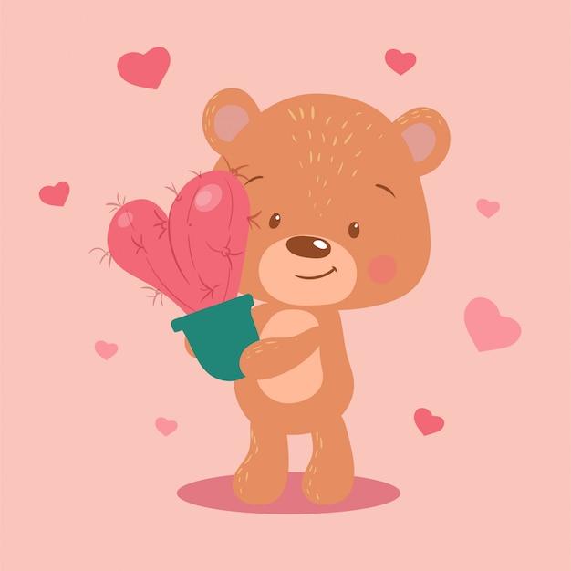 Urso bonito dos desenhos animados com um cacto em forma de coração