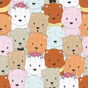 Urso bonito dos desenhos animados de padrão sem emenda