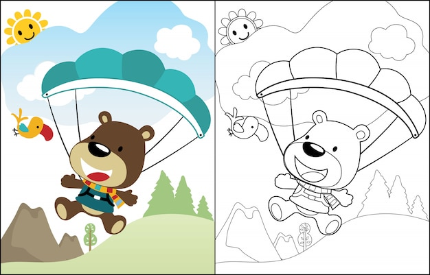 Urso bonito dos desenhos animados do pára-quedista
