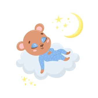 Urso bonito dos desenhos animados dormindo numa nuvem.