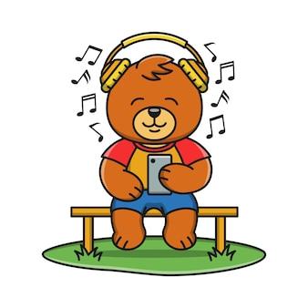 Urso bonito dos desenhos animados está ouvindo música
