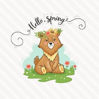 Urso bonito dos desenhos animados está sentado no gramado. olá primavera