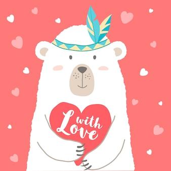 Urso bonito dos desenhos animados, segurando o coração e mão escrita letras com amor