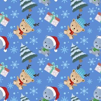 Urso bonito dos desenhos animados usar chapéu de natal com padrão sem emenda de árvore e presente.