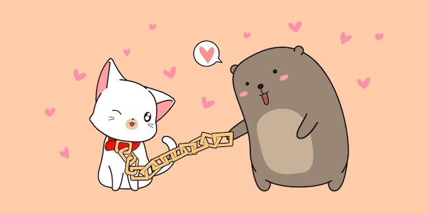 Urso bonito e banner de desenho animado de gato