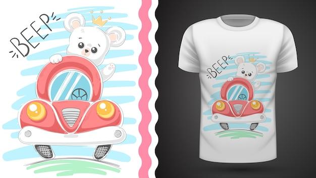 Urso bonito e idéia de carro para impressão t-shirt
