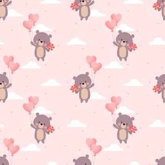 Urso bonito e padrão sem emenda de balão de dia dos namorados.