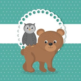 Urso bonito e personagem de coruja animal