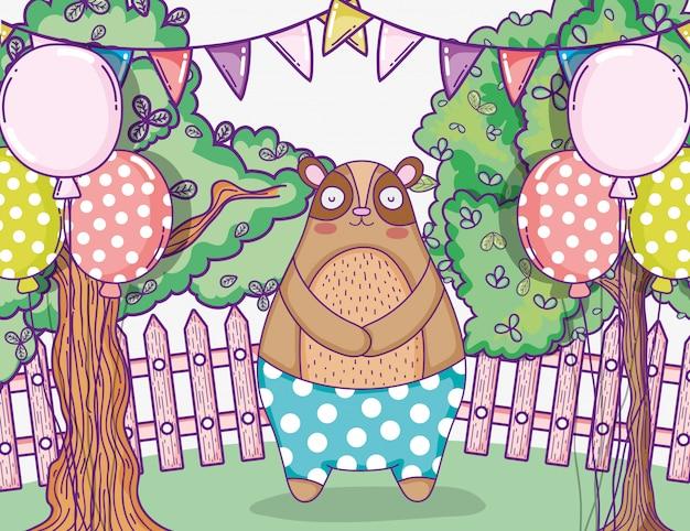 Urso bonito feliz aniversário com banner de festa e balões