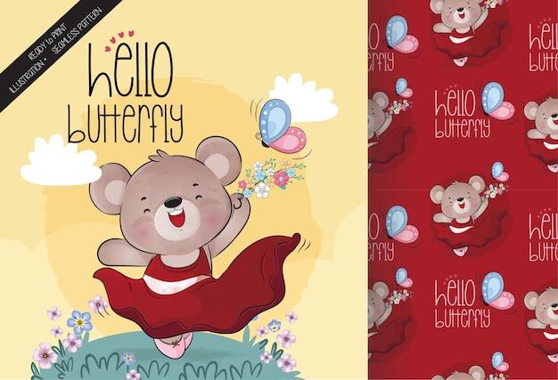 Urso bonito fofo com padrão sem emenda de borboleta e cartão