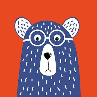 Urso bonito hipster com óculos.
