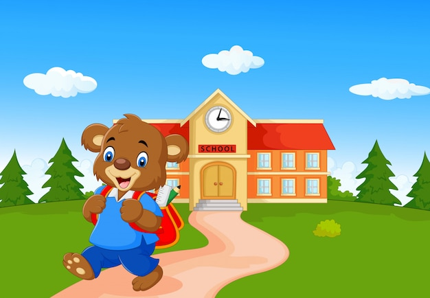 Urso bonito ir para a escola