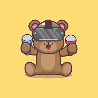Urso bonito jogando jogo de realidade virtual ilustração vetorial de desenho animado
